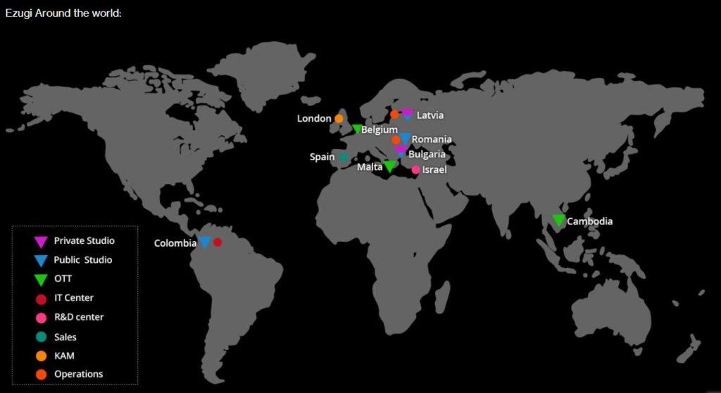Locations of Ezugis live studios
