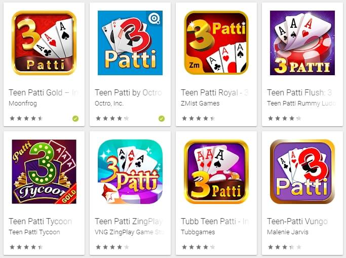 Screenshot of teen patti apps from Google Play Store