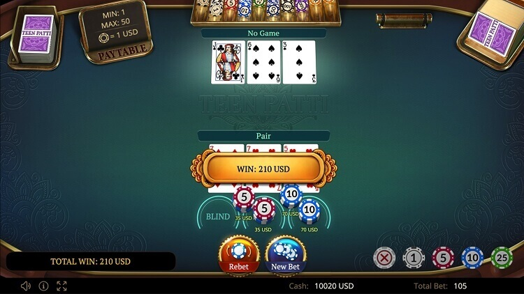 Animated teen patti game by software developer Evoplay