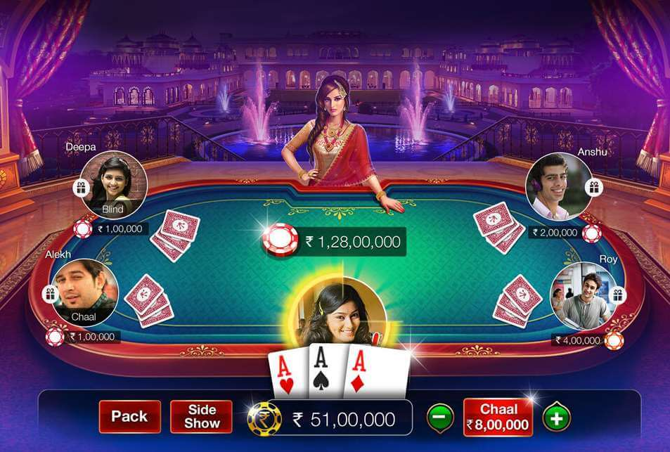 Layout of the Teen Patti Gold player table